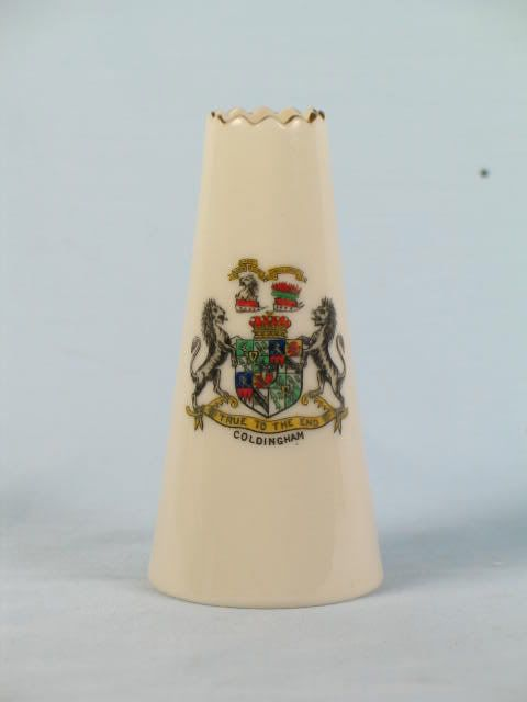 Crested China Chimney Vase With Arms of Coldingham.