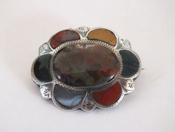 Antique Scottish Polished Agate, Pebble Pin Brooch