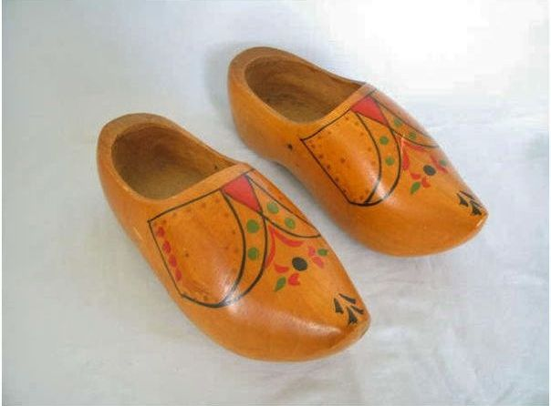 Carved Wooden Clogs. Vintage Folk Art