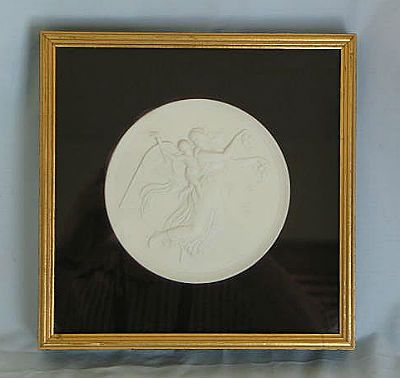 Bisque Wall Plaque 'Aurora With Genius Of Light' After Bertel Thorvaldsen