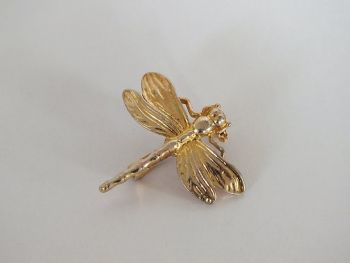 Dragonfly Pin Brooch, Gilt Metal