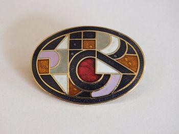Art Deco Style Enamel Pin Brooch