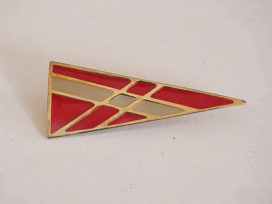 Pennant Shaped Enamel Pin Brooch With Geometric Design.