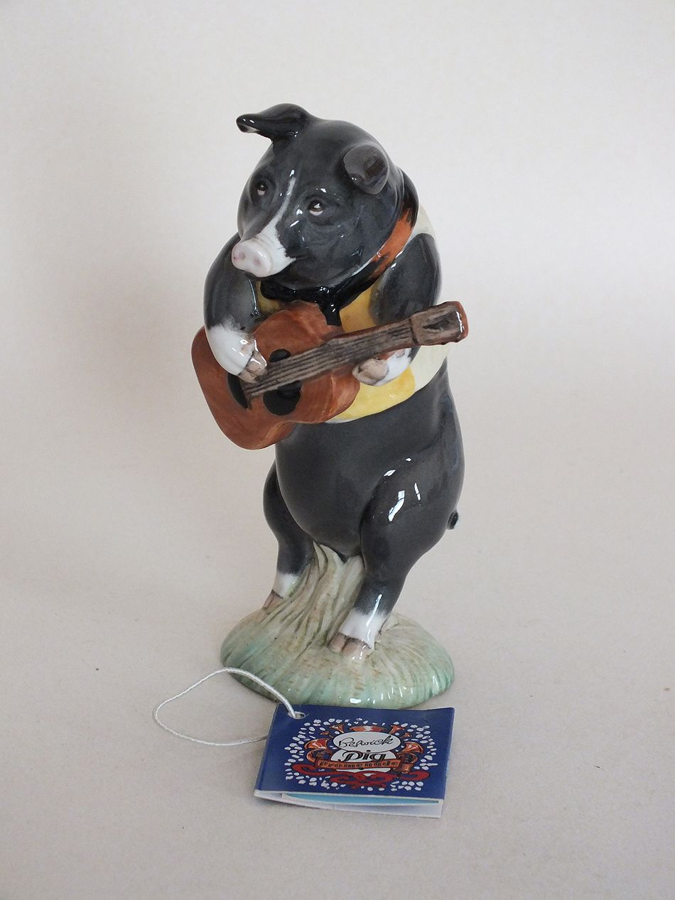 Beswick Black Pig Figurine, Chistopher and Guitar, Model # PP9, Made in England.