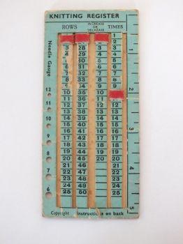 WW2 Cardboard Knitting Register, Needle Gauge