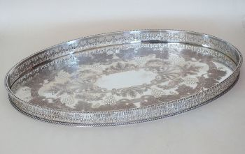 Large Gallery Tray, Silver On Copper