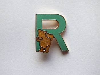 Winnie The Pooh Bear Initial 'R' Enamel Brooch Rainbow Design For Disney
