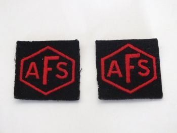 Auxiliary Fire Service (AFS) Cloth Patch Badges x2