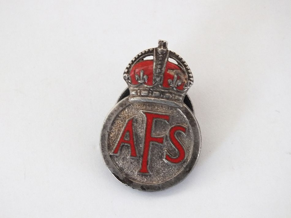 Small WW11 Kings Crown AFS Lapel Buttonhole Badge