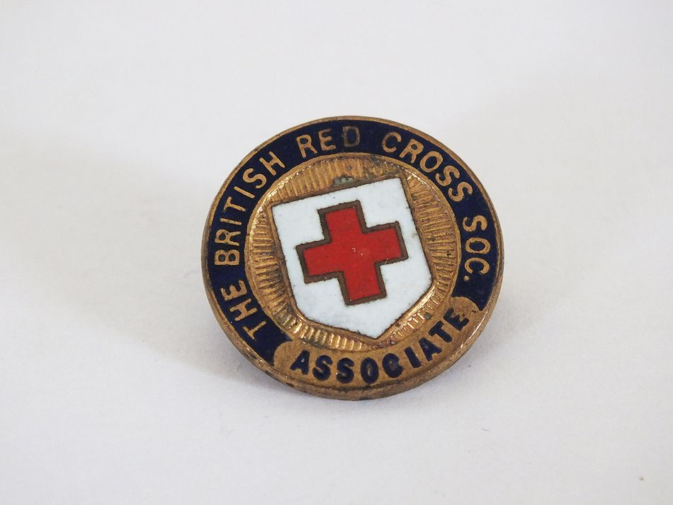 British Red Cross Society Associate Gilt and Enamel Lapel Pin Badge