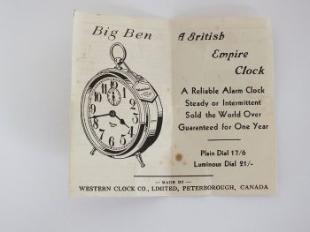 Westclox Pocket Ben Watch Original Guarantee Paper