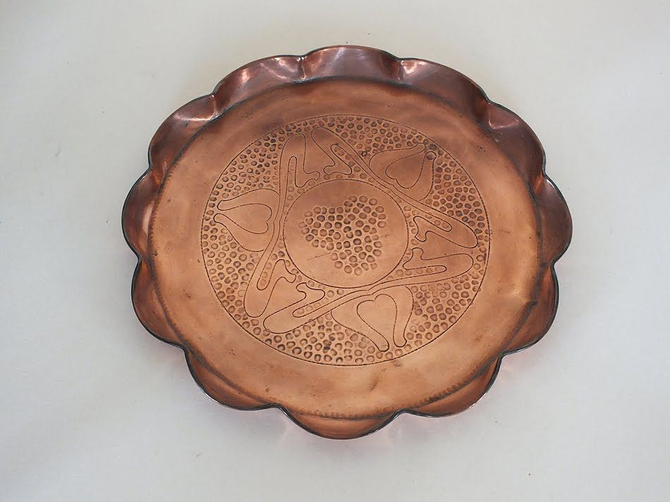 Vintage Copper Serving Tray 9.50