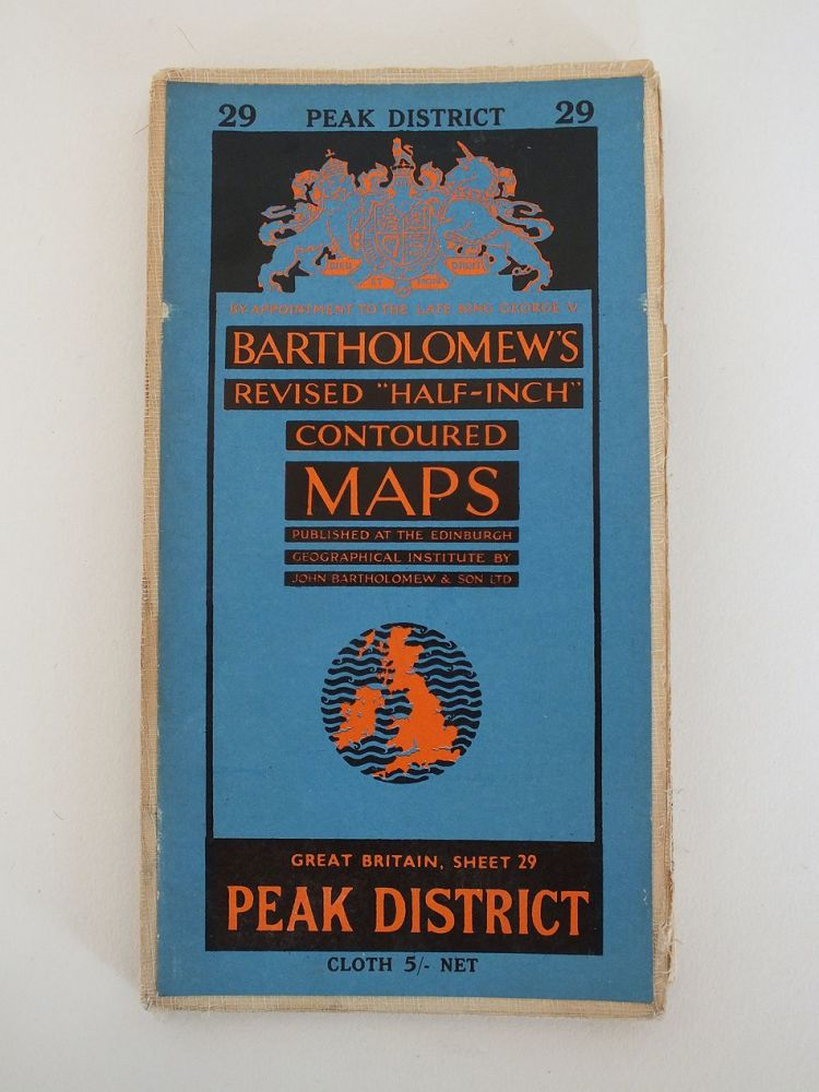 Peak District, Bartholomews Revised Half Inch Contoured Map. Sheet No 29