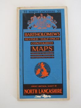 North Lancashire, Bartholomews Revised Half Inch Contoured Map. Sheet No 31