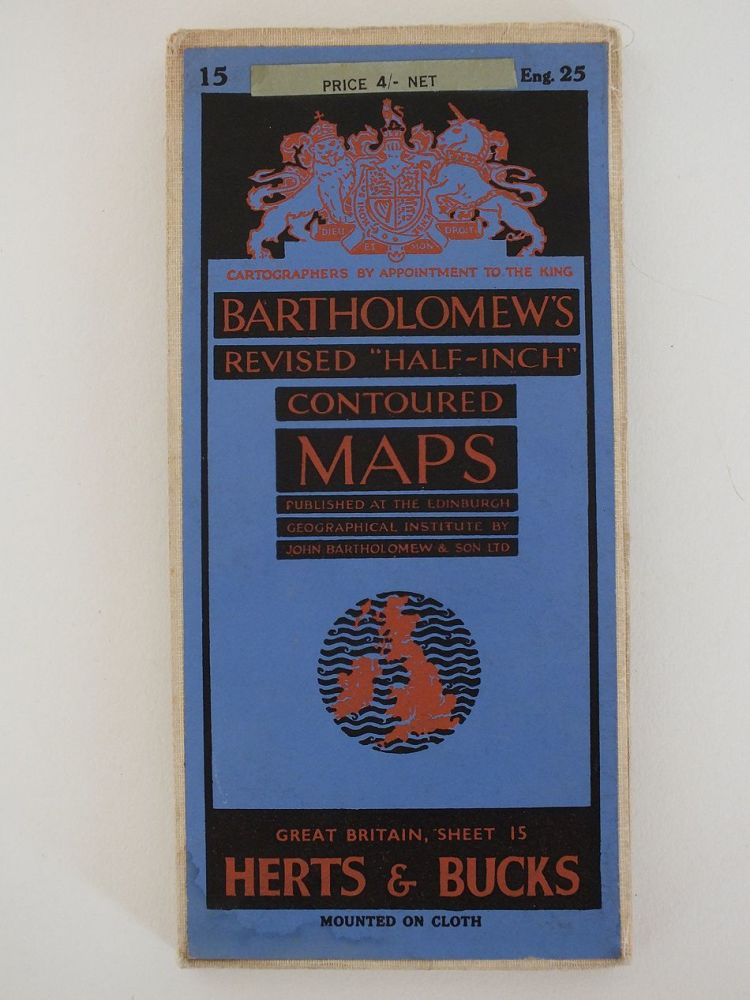 Herts & Bucks Bartholomews Revised Half Inch Contoured Map. Sheet No 15