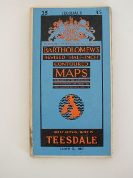 Teesdale North Yorkshire Bartholomews 1960s Revised Half Inch Contoured Map. Sheet No 35