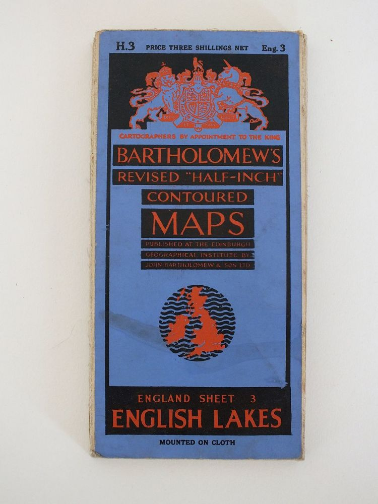 English Lakes Bartholomews Revised Half Inch Contoured Map. Sheet No 3