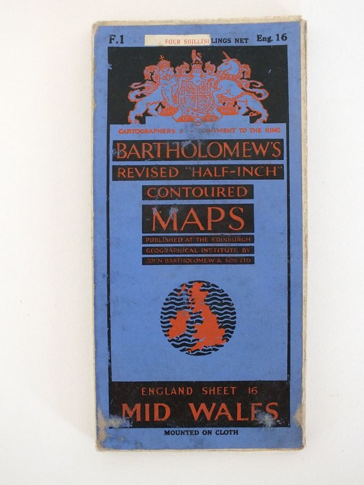 Mid Wales, Bartholomews Revised Half Inch Contoured Map. Sheet No 16