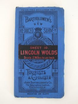 Lincoln Wolds, Bartholomews New Reduced Survey For Tourists & Cyclists Map. Sheet No 10