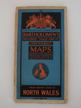 North Wales, Bartholomews Half Inch Series Contour Map, Sheet No 27