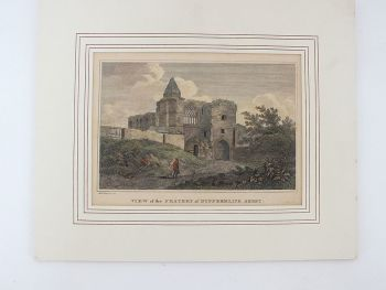 Antique Scottish Engraving Print. Colour Tinted View of the Fratery of Dunfermline Abbey, H W Williams