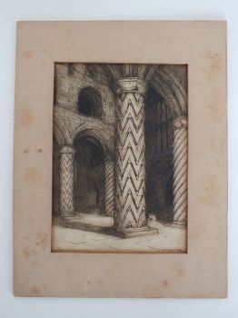 View of the Nave, Dunfermline Abbey. Antique Scottish Etching Print.