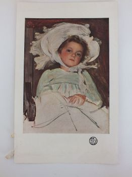 Colour Lithograph Print, Portrait Of A Young Girl