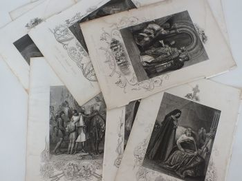Job Lot Of 10 Steel Engravings From Ireland's Golden Age Published By J & F Tallis.