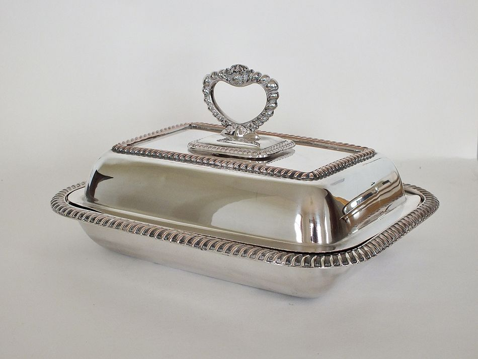 Antique Covered Tureen Entree Dish, Silverplate On Copper