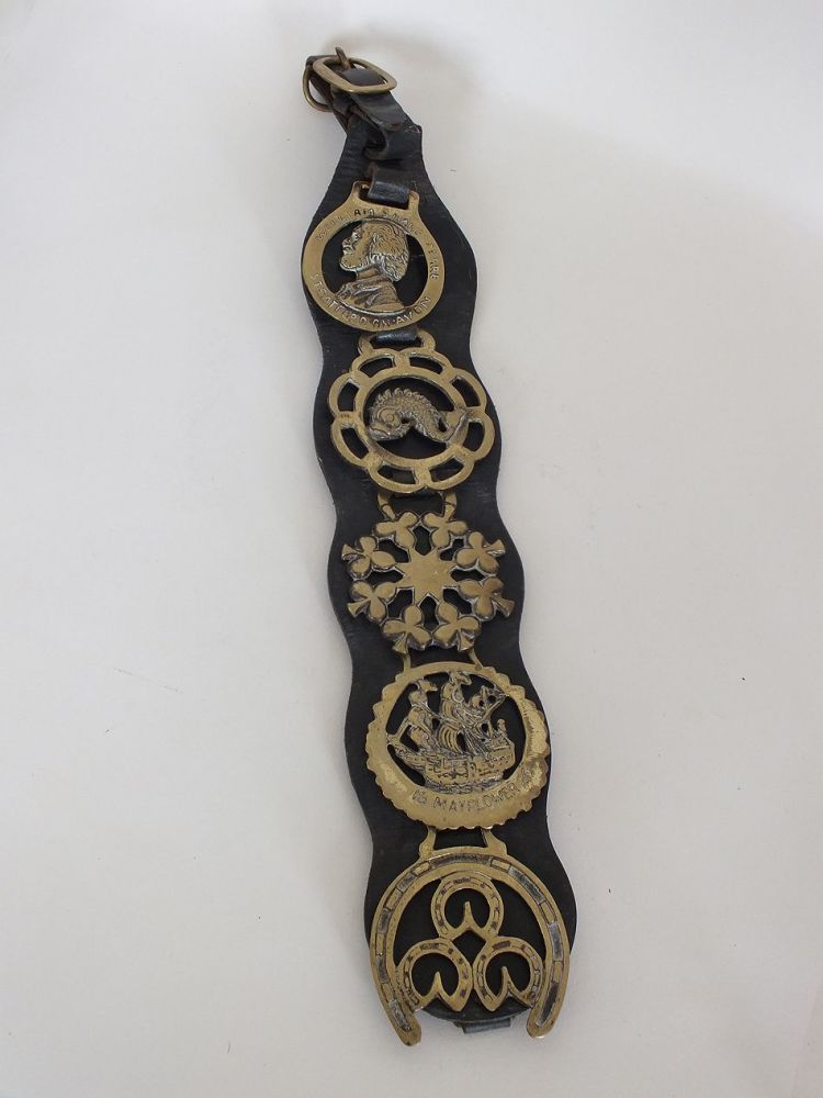 Vintage Horse Brass Ornaments on Leather Strap Martingale