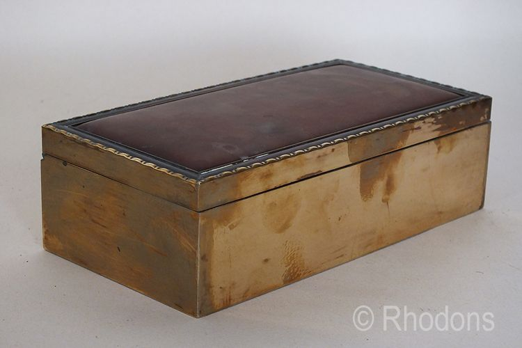 Brass and Faux Tortoiseshell Cigarette Box