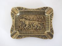 Ashtray, Vintage French Brass With Hunting Dog Decoration