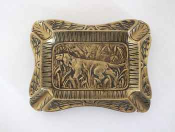 French Brass Ash Tray, Hunting Dog Decoration