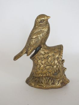 Brass Bird on a Basket Figurine