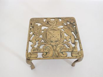 "Brass Trivet, Heraldic Design, 5.25"" x 5.25"""