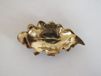 Brass Oak Leaf Pin Trinkets Dish