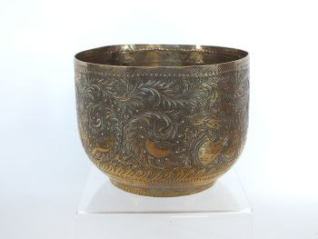 Indian Etched Brass Planter Pot