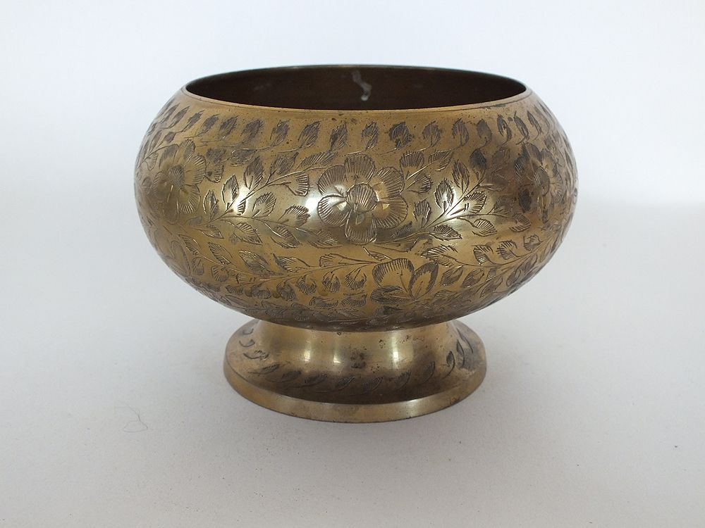 Benares Etched Brass Footed Bowl