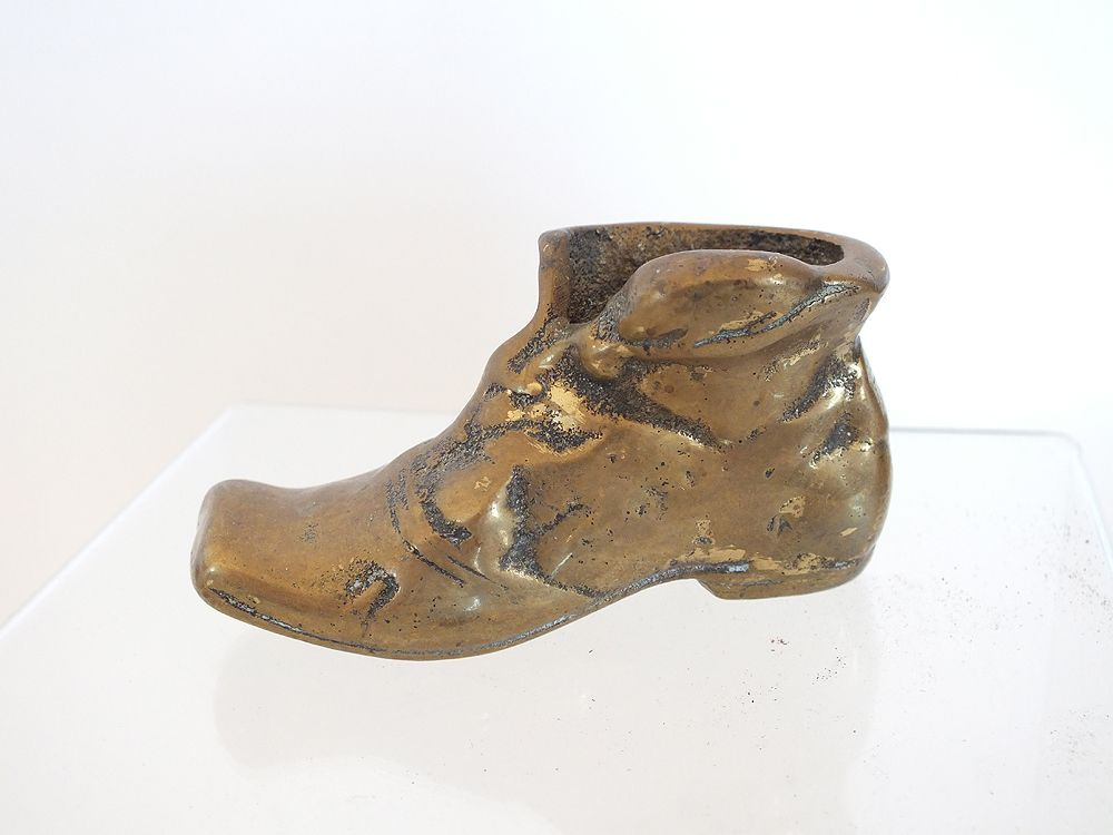 Vintage Brass Boot Match Holder, Desk Paperweight