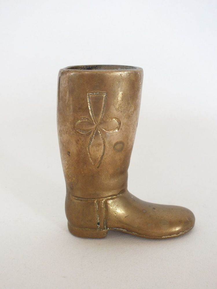 Brass Boot Spill Holder, Toothpick Holder, Paperweight
