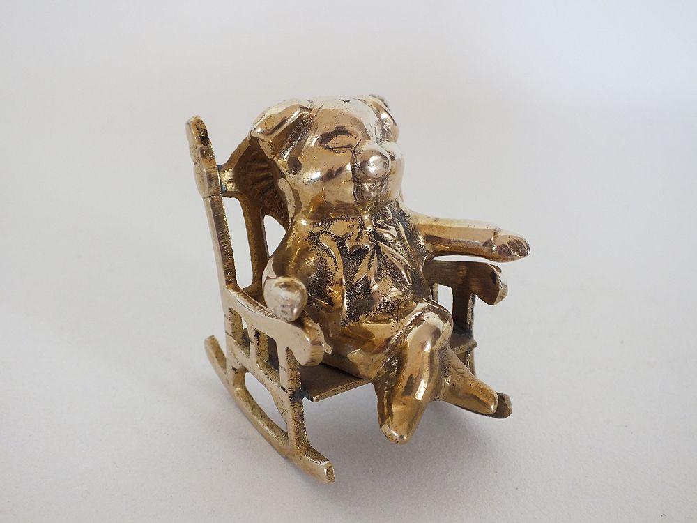 Brass Pig In Rocking Chair