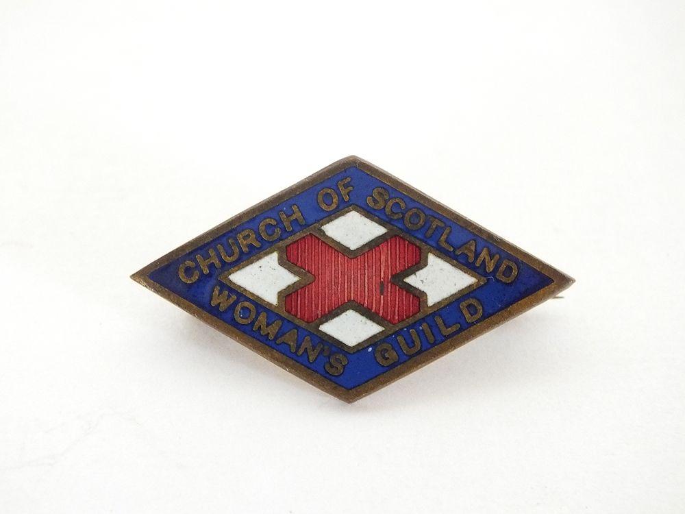 Vintage Church Of Scotland Womans Guild Enamel Lapel Pin