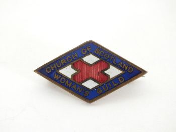 Vintage Church Of Scotland Womans Guild Enamel Lapel Pin