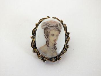 Porcelain Lady Portrait Pin Brooch, Vintage