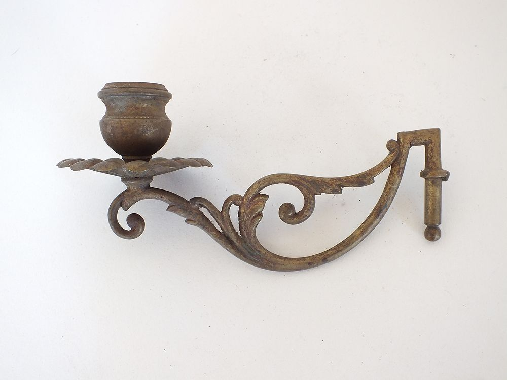 Antique Wall Sconce or Piano Sconce, Salvaged Candle Holder
