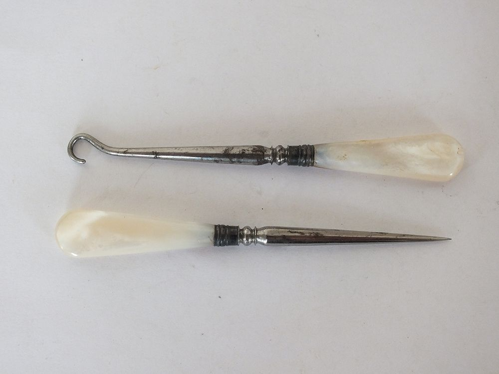 Mother of Pearl Crochet Sewing Hook and Stiletto