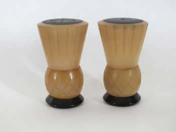 Horn Salt & Pepper Cruet, Scottish Thistle Design