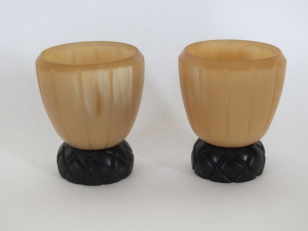 Carved Horn Egg Cups, Pair