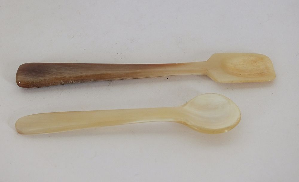 Horn Salt and Mustard Spoons