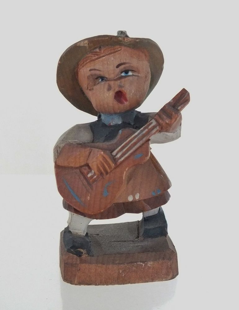 Vintage Carved Wood Alpine Guitar Player,